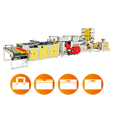 CW-800PFM-SV/CW-1000PFM-SV : Fully Automatic Side Sealing Soft Loop Handle, Draw Tape, Die Cut & Patch Handle Bag Making Machine With Servo Motor Control