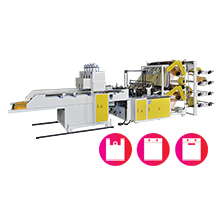 CWA2+8+P-SV  Fully Automatic Double Layer (8 Lines) T-Shirt Bag Cutting & Sealing Machine